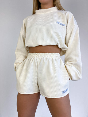 Oversized cord shorts in cream