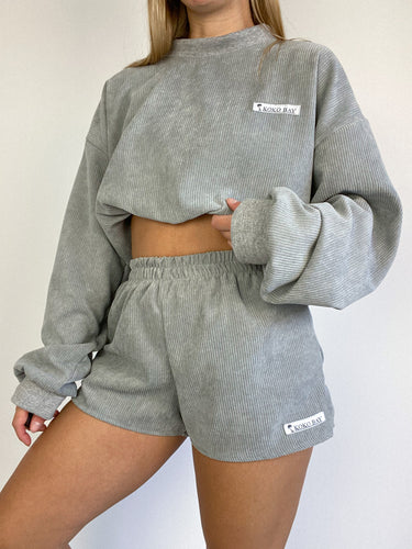 Oversized cord shorts in grey