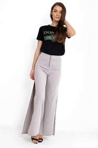 Gemma side split zip front wide leg trousers in grey