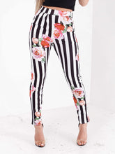 Load image into Gallery viewer, Emily striped high waist rose printed trousers in black/white