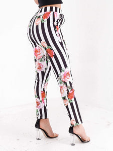 Emily striped high waist rose printed trousers in black/white