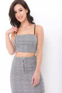 Cindy grey checkered zip top and skirt two piece