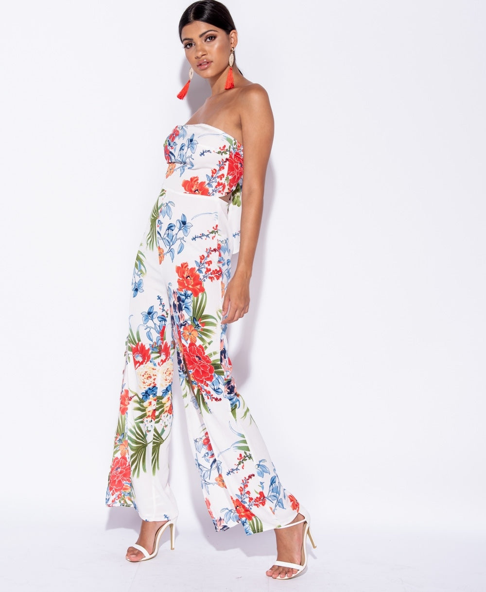 9b7abb6a ... Load image into Gallery viewer, Amber tropical print front slit tie  back bandeau jumpsuit ...