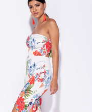 Load image into Gallery viewer, Amber tropical print front slit tie back bandeau jumpsuit