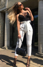 Load image into Gallery viewer, Jayde paper bag waist tie trousers in white