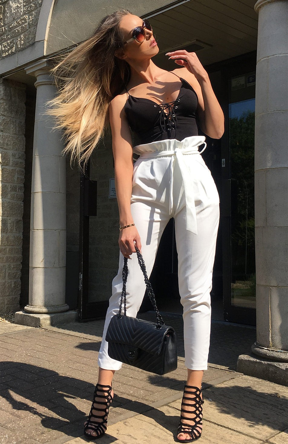 Jayde paper bag waist tie trousers in white