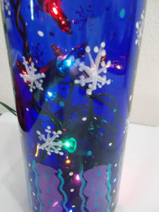 Lighted Hand Painted Blue Bottle