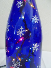 Load image into Gallery viewer, Lighted Hand Painted Blue Bottle