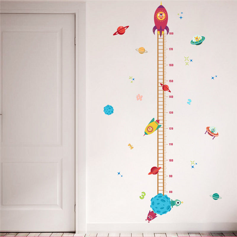 DIY Space Rocket Height Chart Measure Wall Sticker Kid Baby Home Room Decor