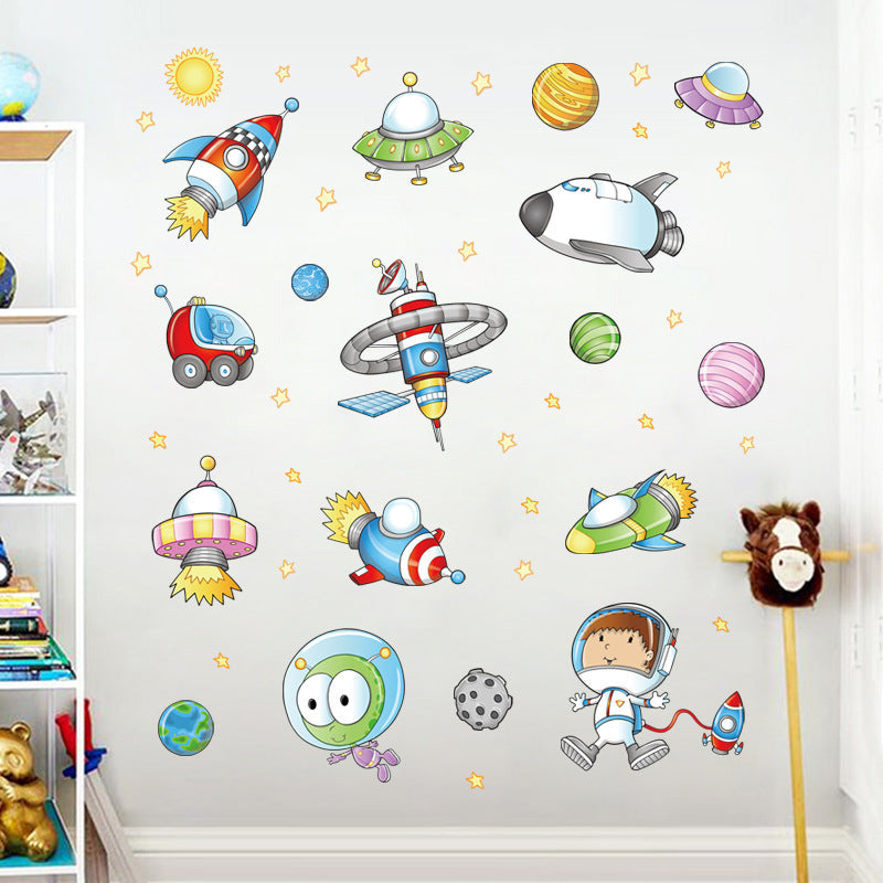 Space Astronaut Cartoon Wall Sticker Children Room Outer Space Planet Space Toy Store