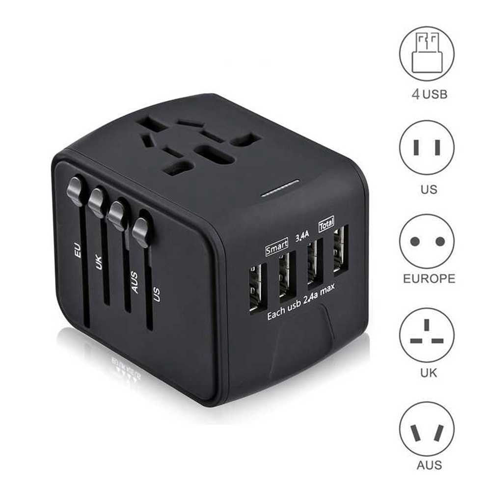 Travel Adapter International Universal Power Adapter All-in-one with 3.4A 4 USB