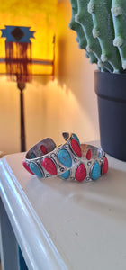 L&B turquoise and Coral cuff