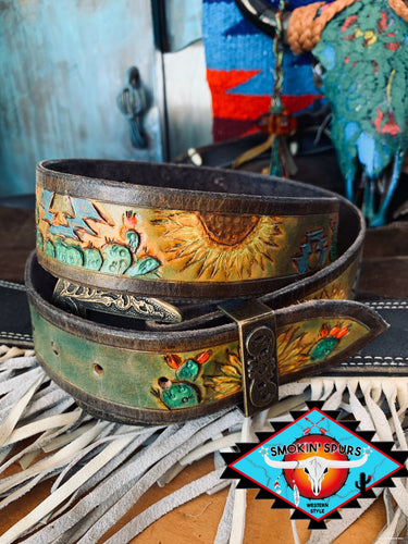 Smokin'Spurs 'southwestern  patina' SUNFLOWER RAYS belt