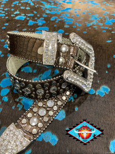 LV chocolate gloss stamped alligator leather belt!