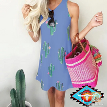 Load image into Gallery viewer, Ladies sweetheart 🌵cactus print knee length dress