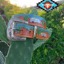 Load image into Gallery viewer, Smokin'Spurs 'southwestern patina' belt.🔸🔅🔻🔺