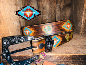 Smokin'Spurs 'Southwestern Patina' cactus belt