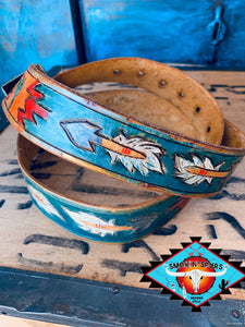 Smokin Spurs southwestern  patina AZTEC ROAD  belt.