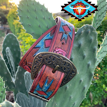 Load image into Gallery viewer, Smokin'Spurs 'southwestern patina' AZTEC ROSE  small belt.🔸🔅🔻🔺