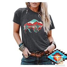 Load image into Gallery viewer, Ladies BUFFALO southwestern decal tee