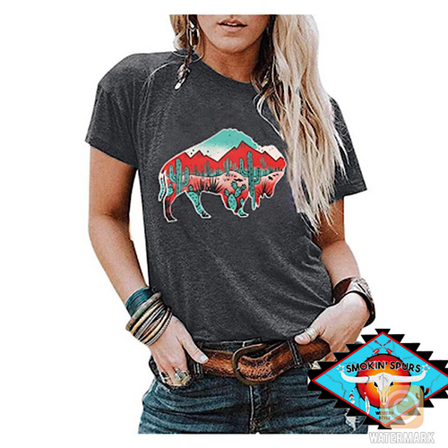 Ladies BUFFALO southwestern decal tee