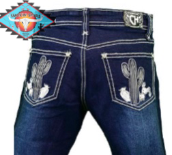 Cowgirl Hardware 'CACTUS ' Jean dark denim.
