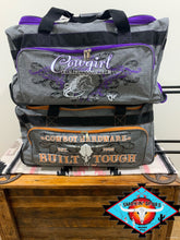 Load image into Gallery viewer, MEDIUM Cowboy & Cowgirl Hardware duffle roll bags!