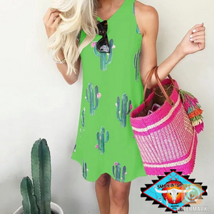 Ladies sweetheart 🌵cactus print knee length dress