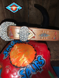 Smokin'Spurs child's belt 'teepee & feather'