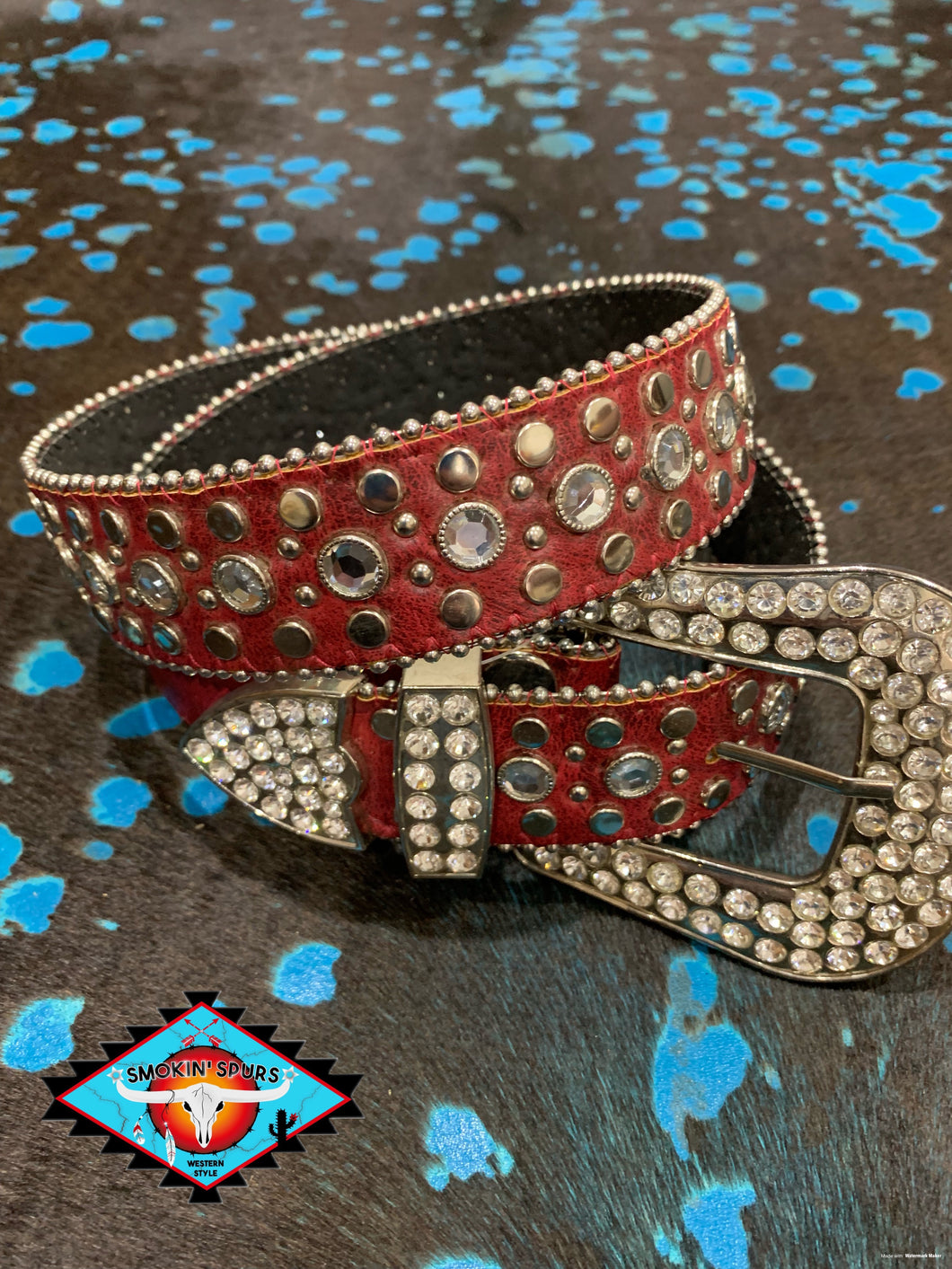 LV leather rhinestone  belt