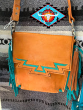Load image into Gallery viewer, Smokin'Spurs own 'Arizona Sky' leather messenger bag