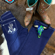 Load image into Gallery viewer, Cowgirl Hardware 'CACTUS ' Jean dark denim.