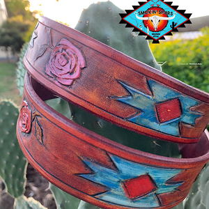 Smokin'Spurs 'southwestern patina' AZTEC ROSE  small belt.🔸🔅🔻🔺