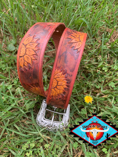 Ladies Small S'S southwestern patina ' sunflowers at dusk' leather belt