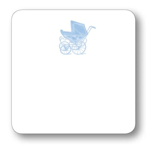 Baby Carriage Notecard Stationery Maison de Papier Blue