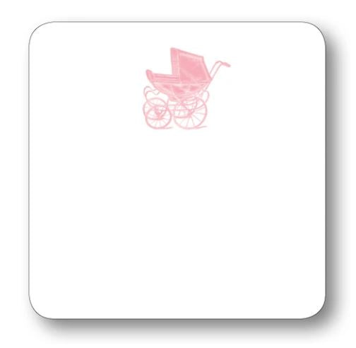 Baby Carriage Notecard Stationery Maison de Papier Pink