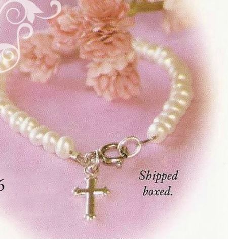 Baby Jewelry Jewelry Collectible's America Cross Pearl Bracelet
