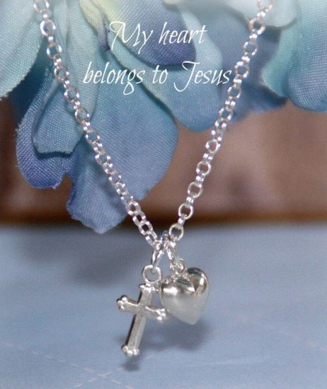 Baby Jewelry Jewelry Collectible's America My Heart with Cross Necklace