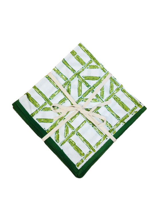 Bamboo Dinner Napkins- Set of 4 Dinner Napkins Pomegranate Green