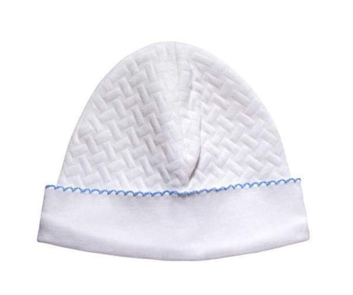 Basket Weave Baby Cap Hats Nella Pima Blue Trim