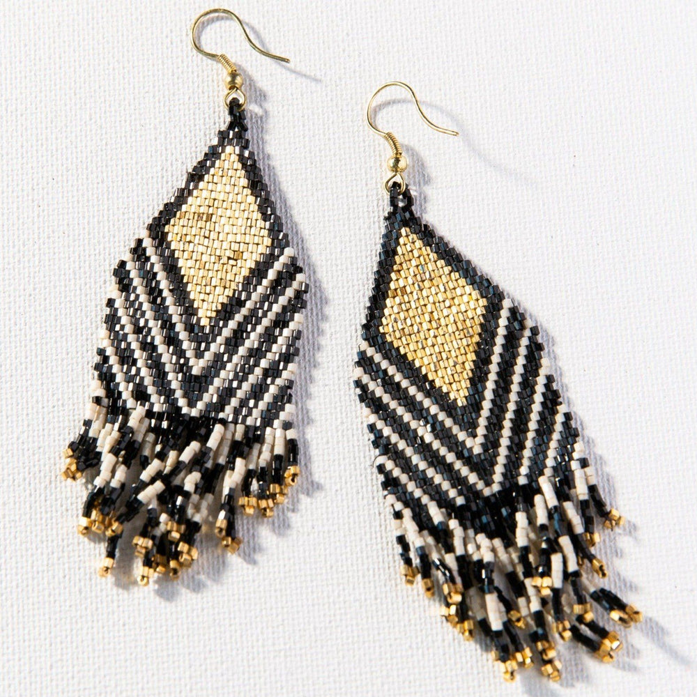 Black Ivory Stripe Luxe Earring Earrings Ink and Alloy