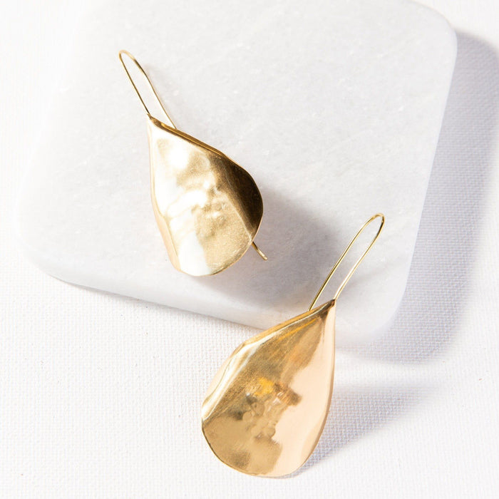 Brass Solid Organic Drop Earrings Earrings Ink and Alloy