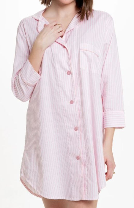Button-Down Sleep Shirt Pajamas Bella il Fiore Pink Stripe - S/M