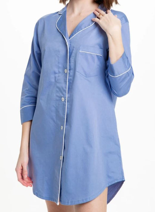 Button-Down Sleep Shirt Pajamas Bella il Fiore Solid Blue - S/M