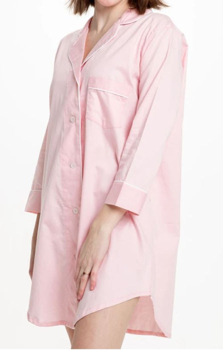 Button-Down Sleep Shirt Pajamas Bella il Fiore Solid Pink - S/M