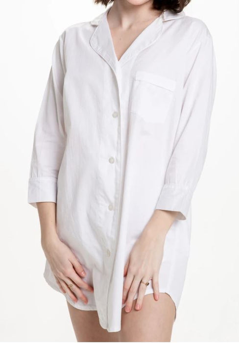 Button-Down Sleep Shirt Pajamas Bella il Fiore White - S/M