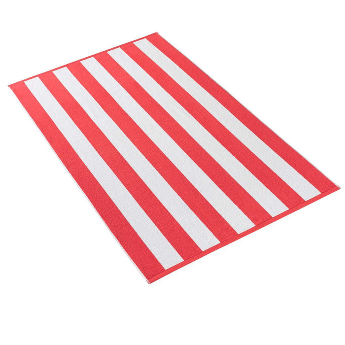 Cabana Stripe Terry Beach Towel Beach Towels Kassatex Coral
