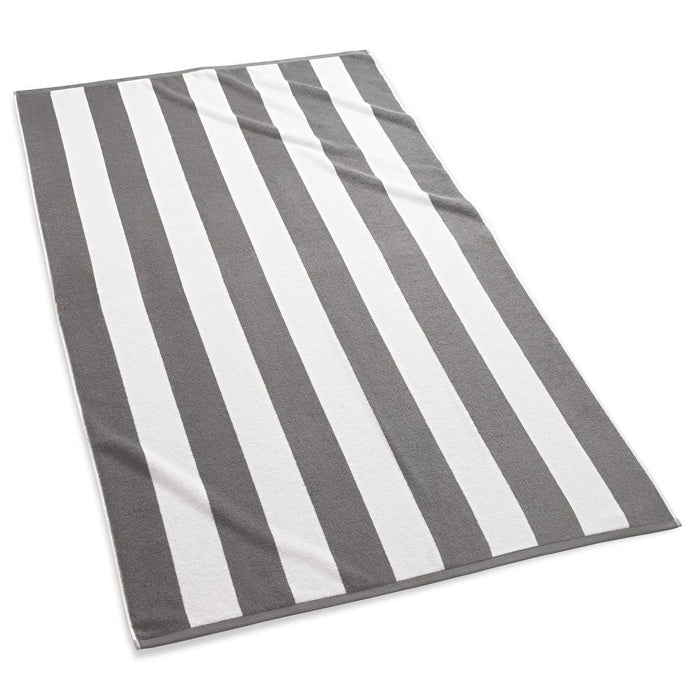 Cabana Stripe Terry Beach Towel Beach Towels Kassatex Grey