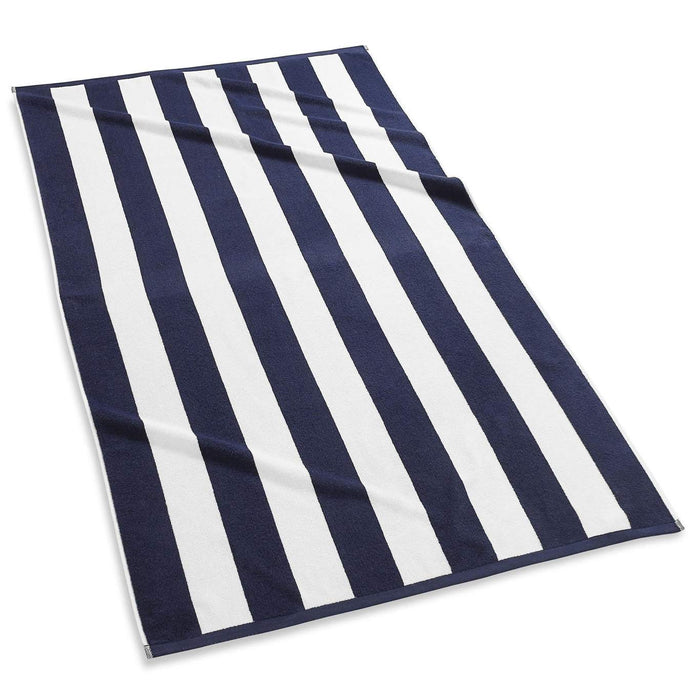 Cabana Stripe Terry Beach Towel Beach Towels Kassatex Navy