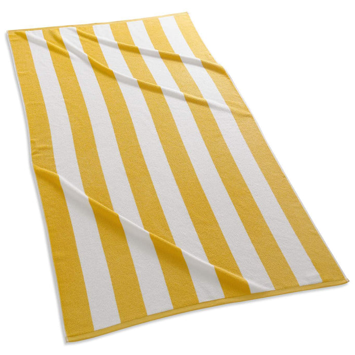 Cabana Stripe Terry Beach Towel Beach Towels Kassatex Yellow